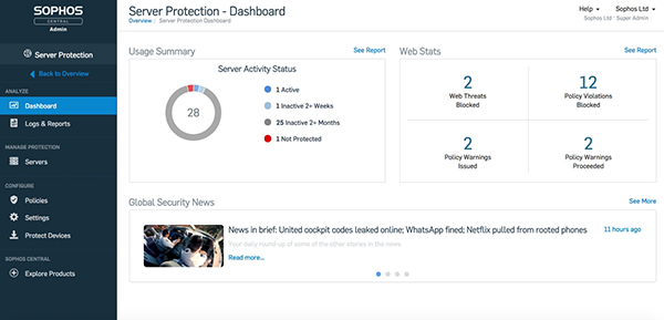 Sophos Server Protection Dashboard